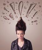 Mujer joven con estilo de pelo y muestras dibujadas mano de la exclamación Imagen de archivo libre de regalías