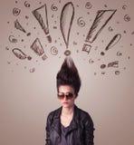 Mujer joven con estilo de pelo y muestras dibujadas mano de la exclamación Foto de archivo libre de regalías