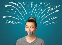 Mujer joven con la boca pegada Imagenes de archivo