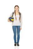 Mujer joven con la bola vollry Imágenes de archivo libres de regalías