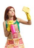 Mujer joven con la botella y la esponja del aerosol Fotografía de archivo