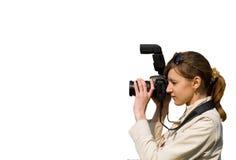 Mujer joven con la cámara Imagen de archivo libre de regalías