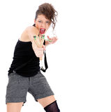 Mujer joven con la catapulta Imagen de archivo