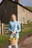 Mujer joven con la cesta de manzanas Fotografía de archivo libre de regalías