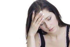 Mujer joven con la depresión aislada en blanco Fotos de archivo