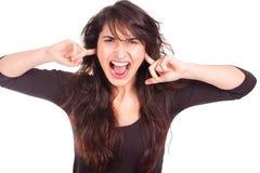 Mujer joven con la expresión del pánico Imagen de archivo libre de regalías
