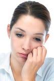 Mujer joven con la expresión triste Foto de archivo