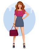 Mujer joven con el miniskirt y los talones ilustración del vector