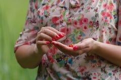 Mujer joven con la fresa Fotografía de archivo libre de regalías
