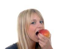 Mujer joven con la manzana Fotografía de archivo libre de regalías