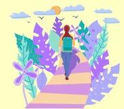 Mujer joven con la mochila que camina solamente stock de ilustración
