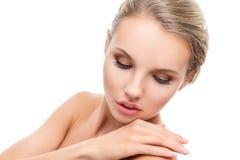 Mujer joven con la piel limpia perfecta Imágenes de archivo libres de regalías