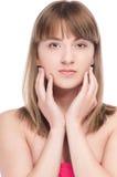 Mujer joven con la piel perfecta de la salud de la cara Imagenes de archivo