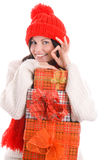 Mujer joven con la pila de regalos Imágenes de archivo libres de regalías