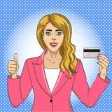 Mujer joven con la trama retra del arte pop de la tarjeta de banco Fondo del color Imitación del estilo del cómic ilustración del vector
