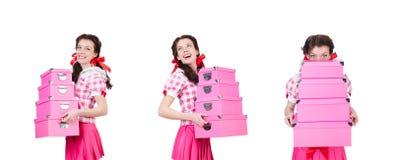 Mujer joven con las cajas de almacenamiento en blanco foto de archivo libre de regalías