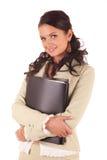 Mujer joven con las carpetas de documentos Fotos de archivo