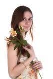Mujer joven con las flores fotos de archivo libres de regalías