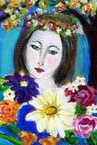 Mujer joven con las flores Imagenes de archivo