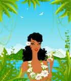Mujer joven con las flores tropicales Foto de archivo