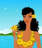 Mujer joven con las flores tropicales Fotografía de archivo libre de regalías