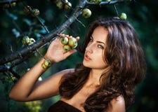 Mujer joven con las manzanas salvajes Foto de archivo libre de regalías