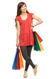 Mujer joven con los bolsos de compras Imagen de archivo