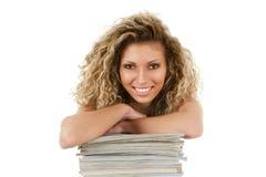Mujer joven con los compartimientos foto de archivo libre de regalías
