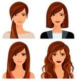 Mujer joven con los diversos peinados y maquillaje