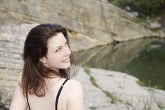 Mujer joven con los ojos verdes Imagen de archivo