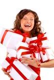 Mujer joven con los regalos Imágenes de archivo libres de regalías