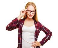 Mujer joven con los vidrios de concha Imagen de archivo libre de regalías