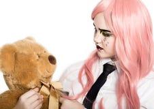 Mujer joven con maquillaje cómico profesional del arte pop Maquillaje de la historieta divertida o de la historieta fotos de archivo libres de regalías