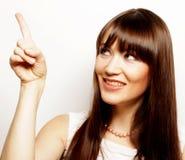 mujer joven con su dedo para arriba Fotos de archivo