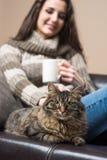 Mujer joven con su gato Imagen de archivo libre de regalías