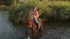 Mujer joven con su natación del caballo en el lago almacen de metraje de vídeo