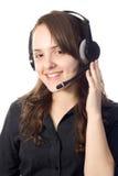 Mujer joven con un receptor de cabeza Foto de archivo libre de regalías