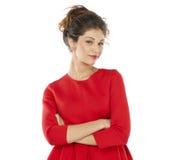Mujer joven con una mirada de soslayo Fotos de archivo