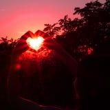Mujer joven, corazón y puesta del sol Foto de archivo
