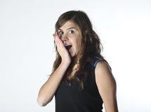 Mujer joven dada una sacudida eléctrica Imagenes de archivo
