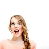 Mujer joven dada una sacudida eléctrica Imagen de archivo