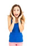 Mujer joven dada una sacudida eléctrica Foto de archivo libre de regalías