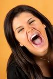 Mujer joven de griterío Imagen de archivo