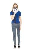Mujer joven de griterío con el megáfono Fotografía de archivo