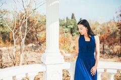 Mujer joven de la belleza en un vestido azul Fotos de archivo libres de regalías