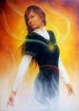 Mujer joven de la pintura hermosa con el ornamental ilustración del vector