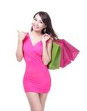 Mujer joven de las compras felices Imágenes de archivo libres de regalías