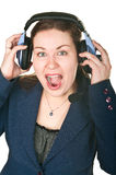 Mujer joven de risa del operador feliz Imágenes de archivo libres de regalías