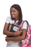 Mujer joven del afroamericano del estudiante universitario Imagenes de archivo
