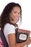 Mujer joven del afroamericano del estudiante universitario Imágenes de archivo libres de regalías